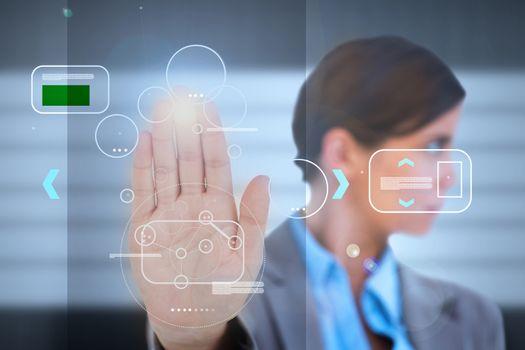 Businesswoman having a palm print identification