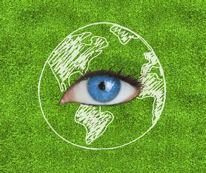 Blue eye surrounded by a drawing of the Earth over grass texture