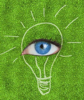 Blue eye surrounded by a drawing of a light bulb on grass texture
