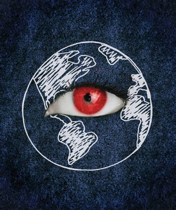 Red eye with eyelashes over blue texture surrounded by a drawing of the earth