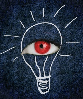Red eye with eyelashes over blue texture surrounded by a drawing of a lightbulb