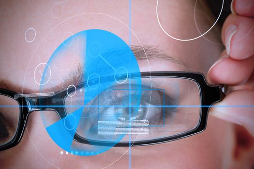 Woman wearing glasses with blue identification technology