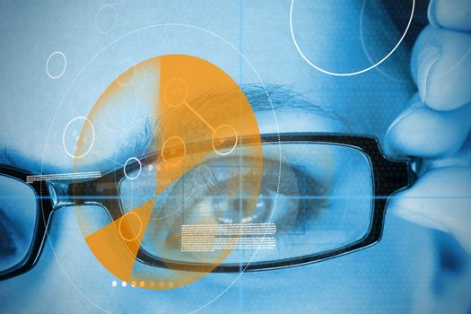 Woman wearing glasses with orange identification technology