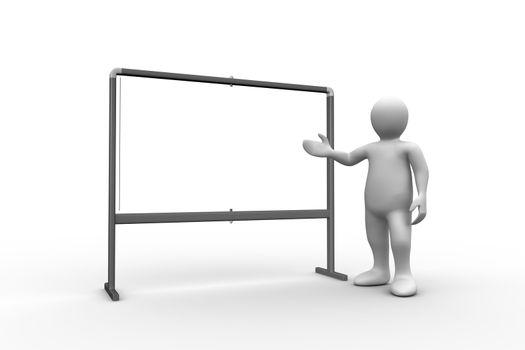 White figure pointing to whiteboard