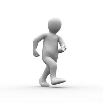 White human figure walking