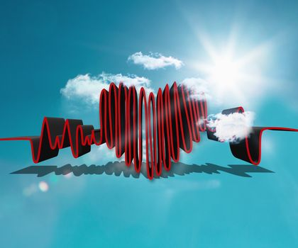 Drawn heart rate line in the sky