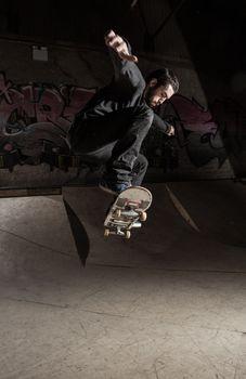 Skater doing huge ollie