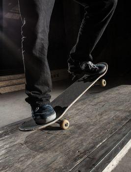 Close up of skater doing manual trick