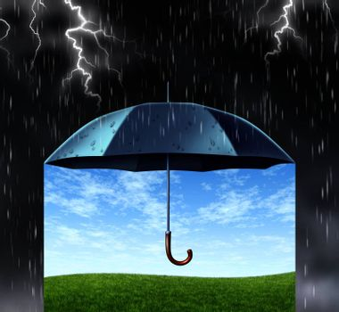 Security and protection concept with a black umbrella covering and protecting from a dark dangerous thunder rain storm with lightning and under is a peaceful safe summer landscape with green grass and a safe blue sky.