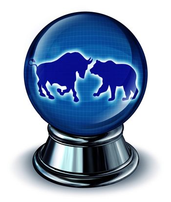 Stock market predictions as a financial concept with a crystall ball and a bull and bear in the reflection as a symbol of future trading trends.