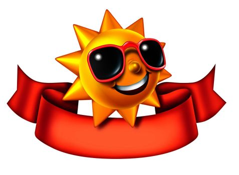 Sunny sun three dimensional cartoon character with a blank red banner as a hot summer symbol of heat and vacation advertisement or communication icon and relaxation isolated on a white background.