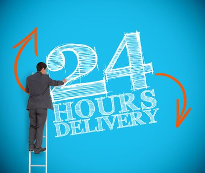 Businessman writing 24 hours delivery
