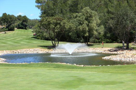 Water hazard on a golf course