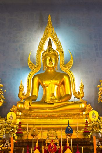 buddha image in the gesture of subduing Mara, and the replica of Phra Buddhachinaraj
