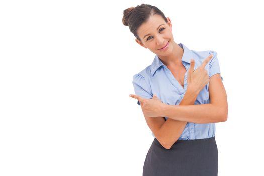 Classy businesswoman indicating something