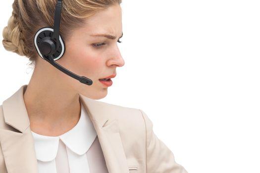 Annoyed call center agent
