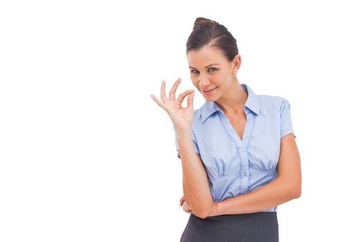 Businesswoman saying ok