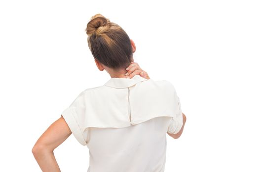 Businesswoman relieving neck ache