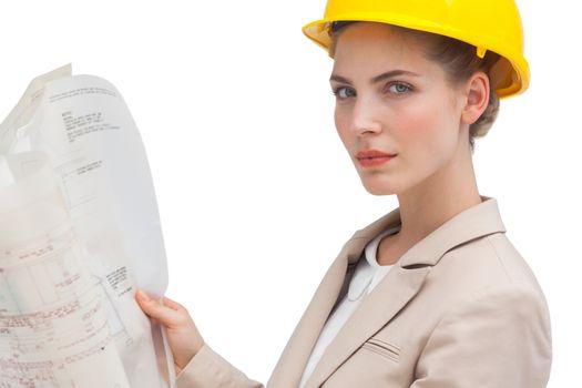Unsmiling woman architect