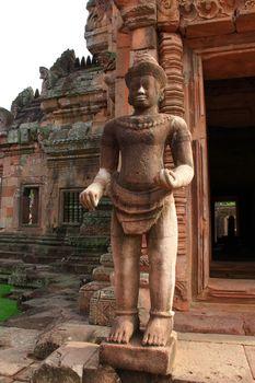 the door guardian made of pink sandstone