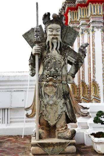 ancient Chinese warrior sculpture decoration at the door