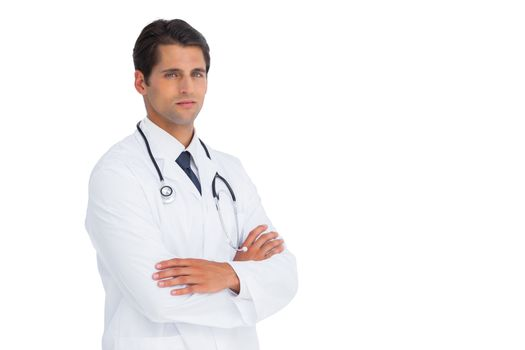 Stern doctor with arms crossed