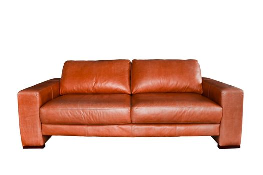 brown leather sofa isolated in white background