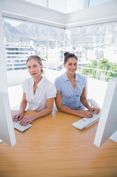Happy businesswomen working side by side