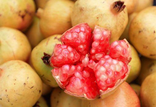 Ripe pomegranates ready to sell