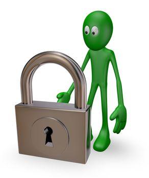 green guy and padlock on white background - 3d illustration