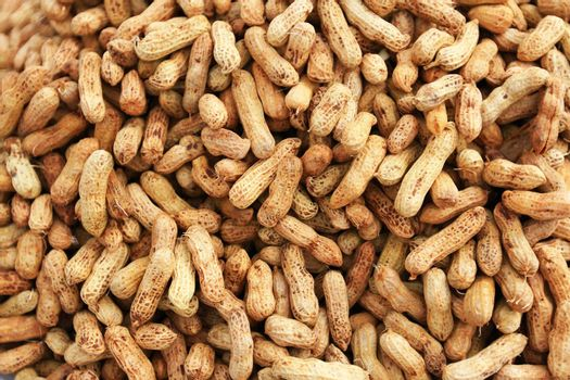 Boiled peanuts pile in a basket