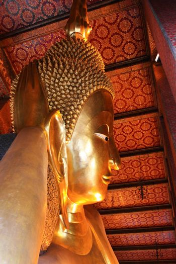 The most beautiful reclining buddha image in Thailand