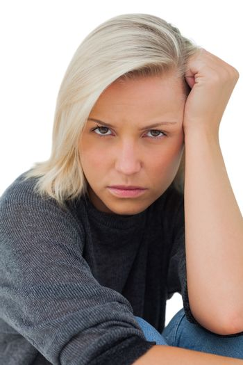 Troubled woman looking at camera