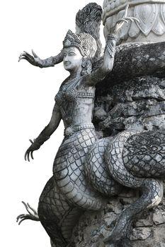 stucco modelling of half human and snake