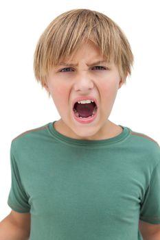 Furious little boy shouting