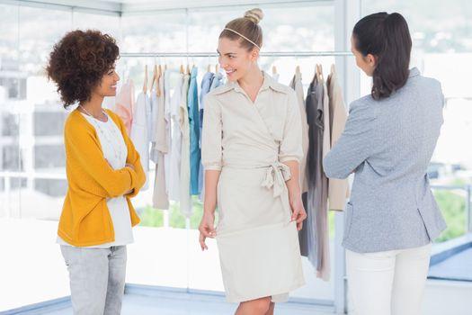Fashion designers and beautiful model