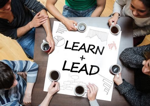 Learn plus lead written on a poster with drawings of charts
