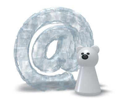 frozen email alias and polarbear token - 3d illustration