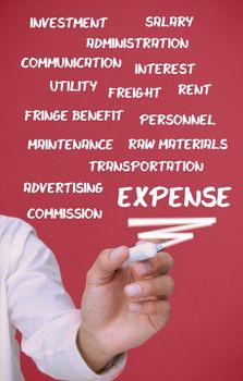 Businessman writing expense terms