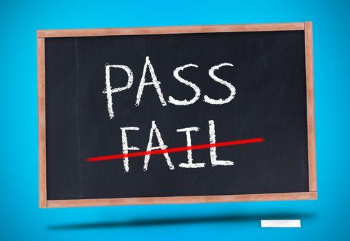 Pass and fail written on blackboard