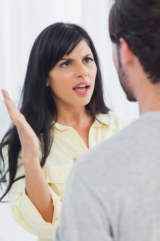 Woman about to slap her boyfriend