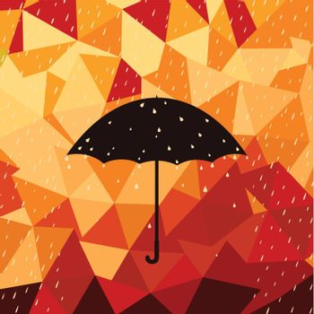 On an umbrella it is raining. A vector illustration
