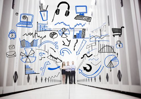 Employees in a data center standing in front of drawings of charts and computer sketches
