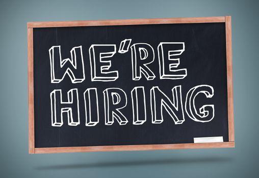 We are hiring written on blackboard