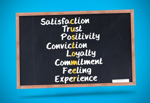 Several words about satisfaction written on a chalkboard