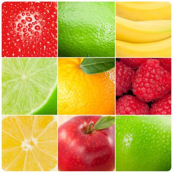 Collage of pictures of fruits