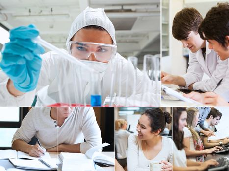 Montage with students doing chemistry