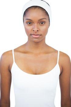 Serious woman wearing white headband