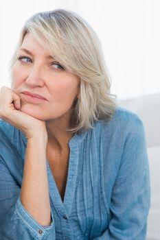 Upset woman thinking