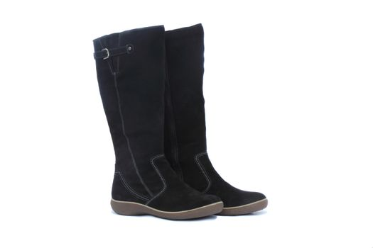Comfortable winter suede boots black. Presented on a white background.